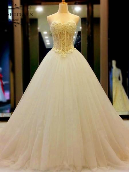 Stora Hjärtformad Tyll Pärlbrodering Court släp Ärmlös Bröllopsklänningar