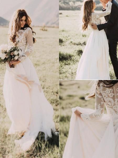 A-linjeformat Applikation Tyll Rund-urringning Långa ärmar Sweep släp Bröllopsklänningar