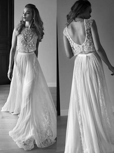 A-linjeformat Ärmlös Rund-urringning Tyll Pärlbrodering Sweep släp Bröllopsklänningar