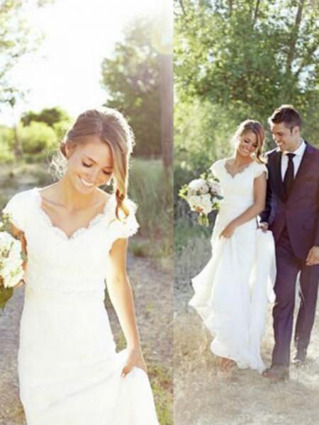 A-linjeformat Tyll Spetsar V-ringning Ärmlös Sweep släp Bröllopsklänningar