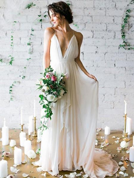 A-linjeformat Chiffong Ärmlös Rufsar Smala axelband Sweep släp Bröllopsklänningar