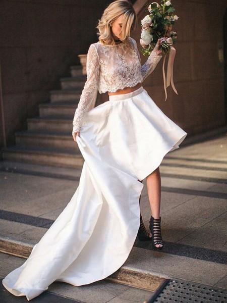 A-linjeformat Satäng Spetsar Rund-urringning Långa ärmar Sweep släp Tvådelad Bröllopsklänningar