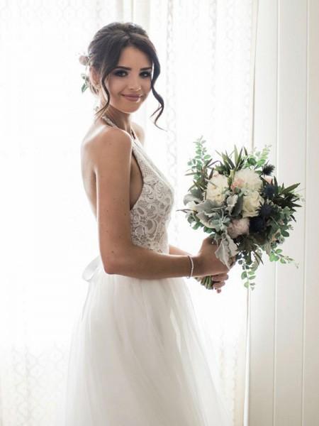 A-linjeformat Spetsar Tyll Ärmlös Grimma Golvläng Bröllopsklänningar