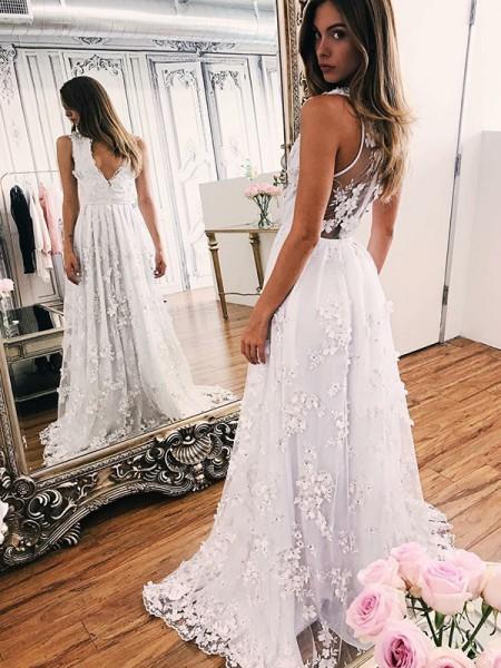 A-linjeformat V-ringning Applikation Organzapåse Ärmlös Sweep släp Bröllopsklänningar