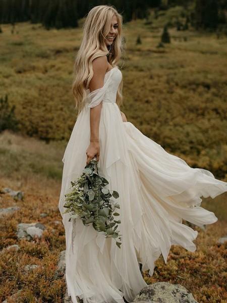 A-linjeformat Chiffong Volanger Off-shoulder ringning Ärmlös Golvläng Bröllopsklänningar