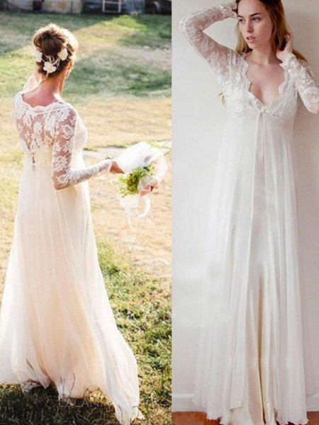 Empire V-ringning Spetsar långa Ärmars Golvläng Chiffong Bröllopsklänningar