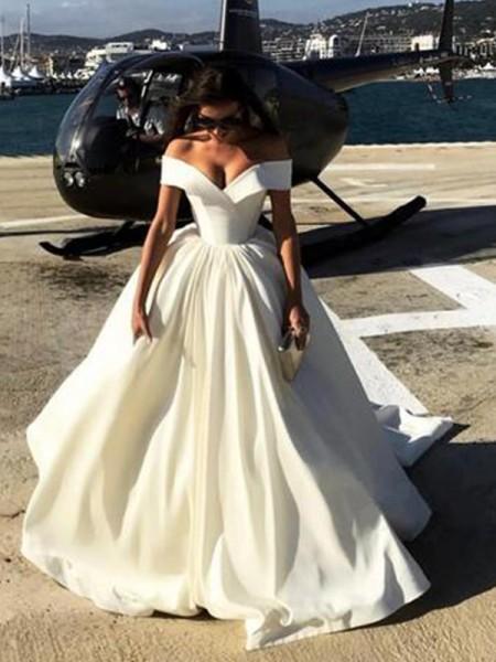 Stora Off-shoulder ringning Court släp Satäng Bröllopsklänningar