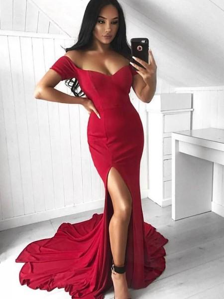 Mermaid Röd Court Släp Rufsar Spandex Prom Klänningar