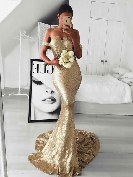 Mermaid Guld Brush Train Rufsar Paljetterad Prom Klänningar