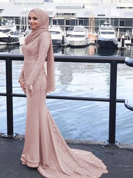 Trumpet/Sjöjungfru Långa ärmar Rund-urringning Sweep släp Applikation Satäng Muslim Klänningar