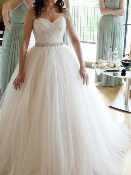Stora Hjärtformad Ärmlös Golvläng Pärlbrodering Tyll Bröllopsklänningar