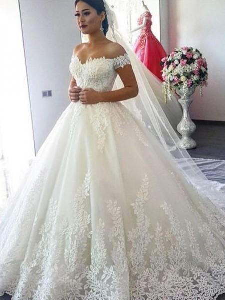 Stora Off-shoulder ringning Ärmlös Sweep släp Spetsar Tyll Bröllopsklänningar