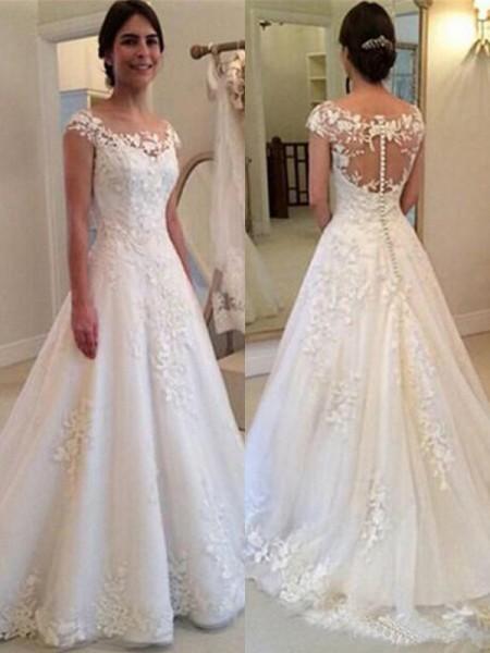 A-linjeformat Rund-urringning Ärmlös Sweep släp Spetsar Tyll Bröllopsklänningar