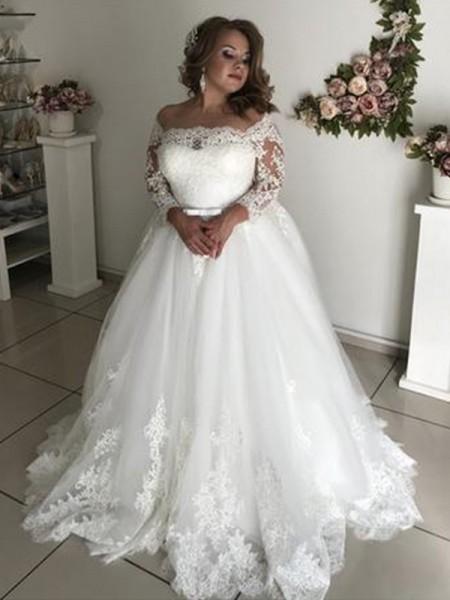 A-linjeformat Off-shoulder ringning Långa ärmar Sweep släp Spetsar Tyll Bröllopsklänningar