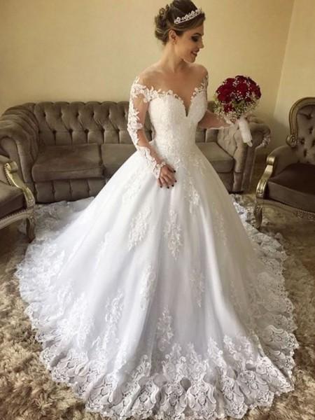 5335e73fc023 Stora Off-shoulder ringning Långa ärmar Sweep släp Spetsar Tyll  Bröllopsklänningar