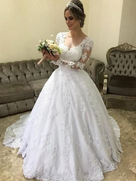 Stora V-ringning Långa ärmar Sweep släp Applikation Satäng Bröllopsklänningar