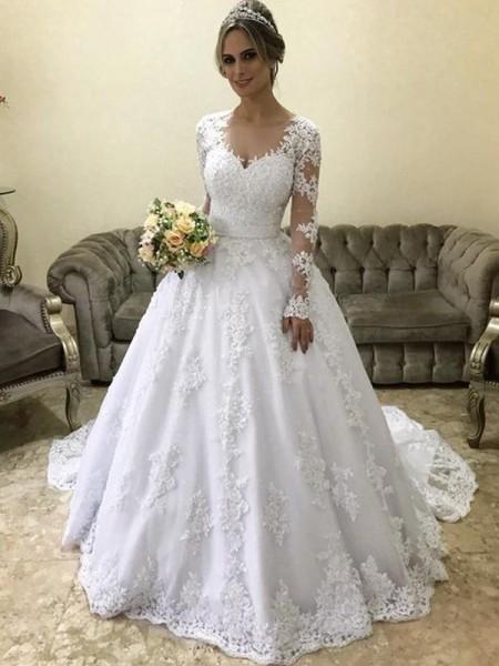 Stora V-ringning Långa ärmar Court släp Applikation Satäng Bröllopsklänningar
