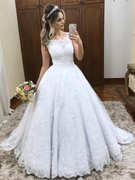 Stora Rund-urringning Ärmlös Sweep släp Spetsar Satäng Bröllopsklänningar