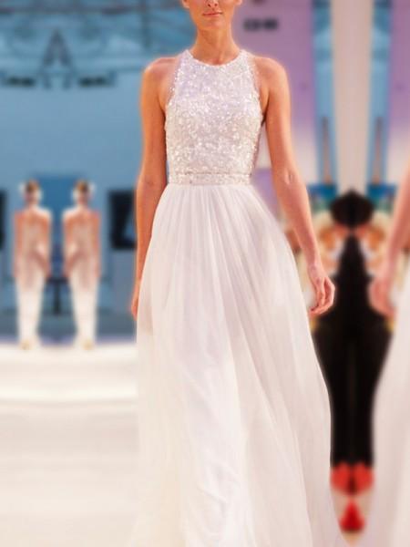 A-linjeformat Juvel Ärmlös Golvläng Pärlbrodering Chiffong Bröllopsklänningar