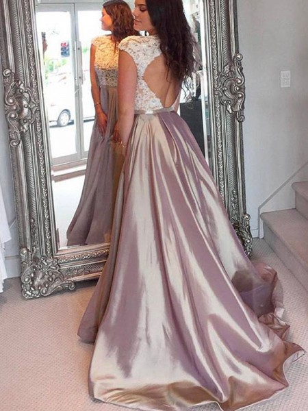 A-Line/Princess Jewel Sleeveless Sweep/Brush Train Lace Satin Dresses