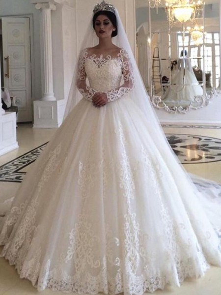 Stora Tyll Applikation Off-shoulder ringning Långa ärmar Sweep släp Bröllopsklänningar