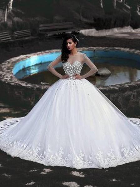Stora Tyll Pärlbrodering Rund-urringning Långa ärmar Sweep släp Bröllopsklänningar