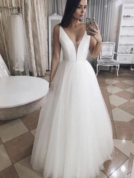 A-linjeformat Tyll Rufsar V-ringning Ärmlös Golvläng Bröllopsklänningar