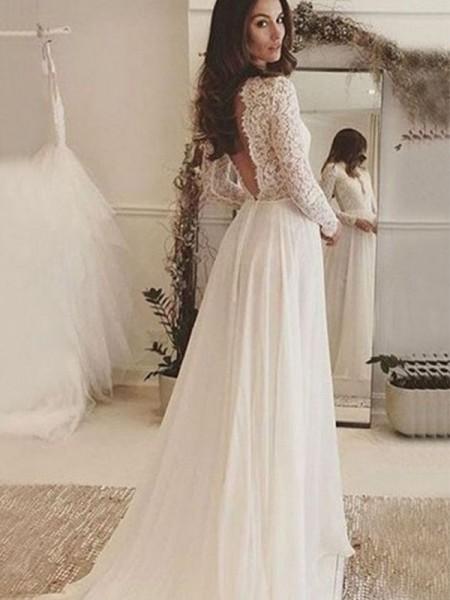 A-linjeformat Chiffong Spetsar Rund-urringning Långa ärmar Sweep släp Bröllopsklänningar