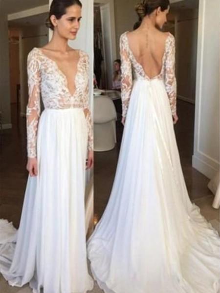 A-linjeformat Chiffong Spetsar V-ringning Långa ärmar Sweep släp Bröllopsklänningar