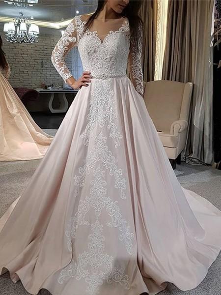 A-linjeformat Satäng Applikation V-ringning Långa ärmar Sweep släp Bröllopsklänningar