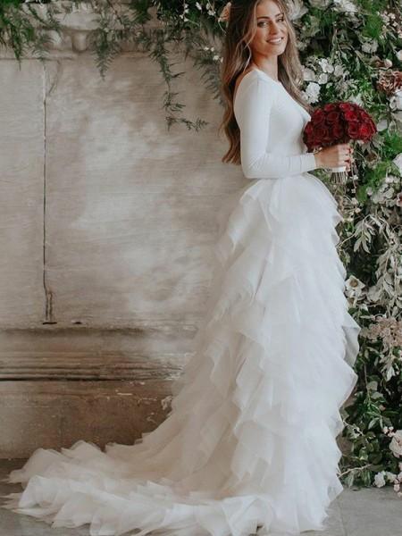 A-linjeformat Tyll Rufsar Rund-urringning Långa ärmar Sweep släp Bröllopsklänningar