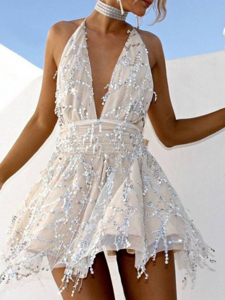A-Line/Princess Chiffon Beading Halter Sleeveless Short/Mini Cocktail Dress