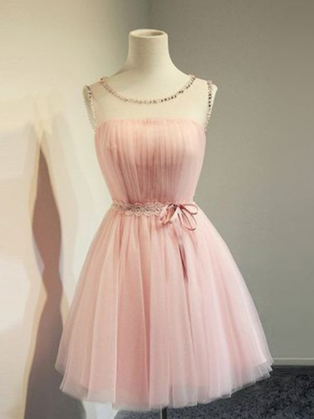 A-Line/Princess Tulle Beading Scoop Sleeveless Short/Mini Cocktail Dresses