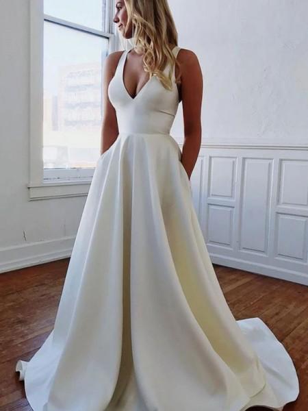 A-linjeformat V-ringning Satäng Rufsar Ärmlös Sweep släp Bröllopsklänningar