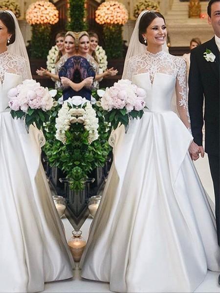 A-linjeformat Spets Satäng Hög Urringning Långa ärmar Golvläng Bröllopsklänningar