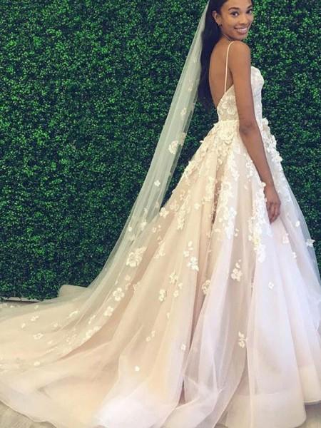 A-linjeformat Tyll Applikation Smala axelband Ärmlös Court släp Bröllopsklänningar