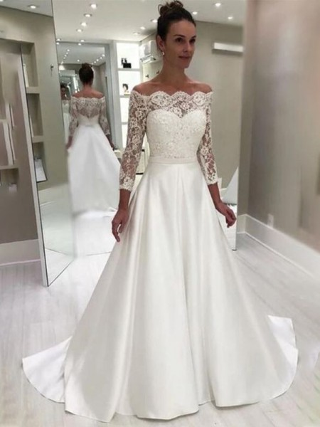 A-Line/Princess Satin 3/4 Sleeves Lace Sweep/Brush Train Off-the-Shoulder Wedding Dresses
