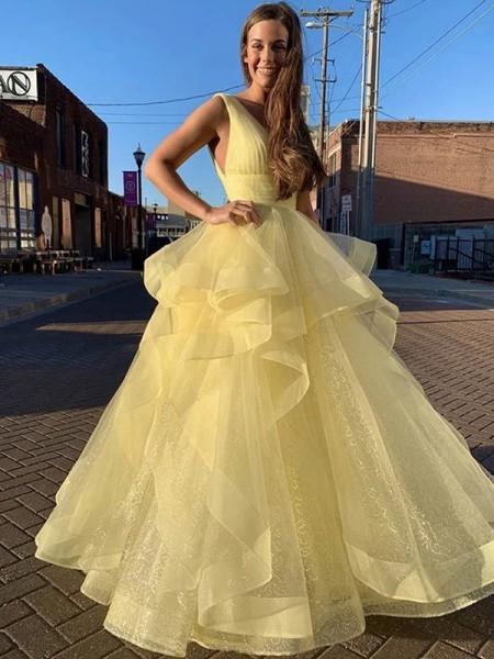 Balklänning Golvläng V-ringning Rufsar Ärmlös Organzapåse Klänningar