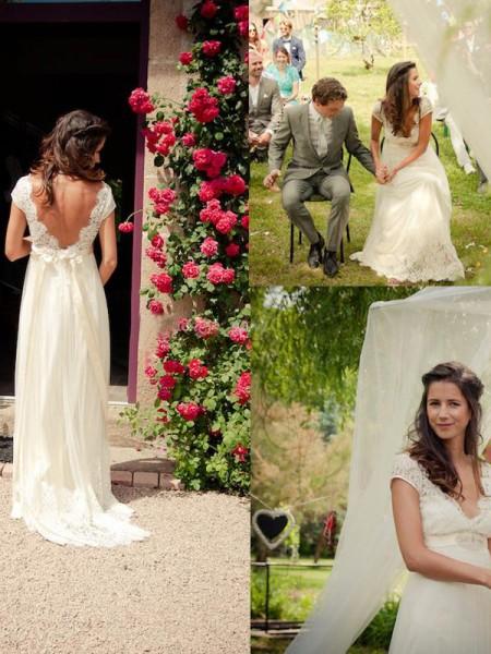 A-linjeformat V-ringning Sweep släp Ärmlös Pärlbrodering Tyll Bröllopsklänningar