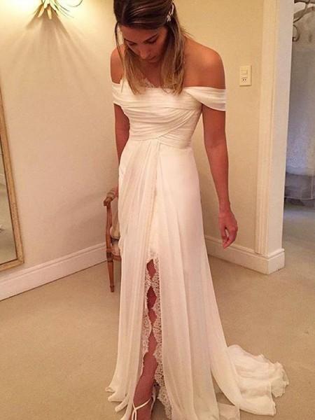 A-linjeformat Sweep släp Off-shoulder ringning Ärmlös Rufsar Chiffong Bröllopsklänningar