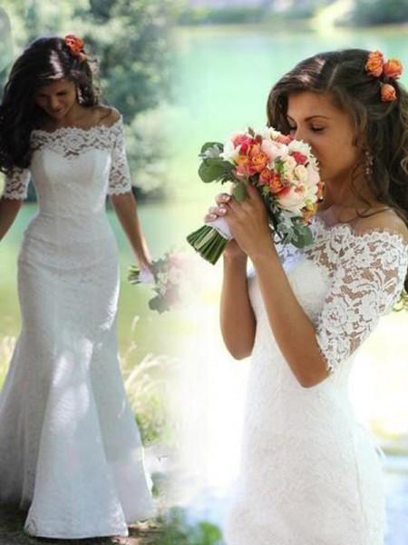 Trumpet/Sjöjungfru Off-shoulder ringning 1/2 Ärmar Spetsar Sweep släp Bröllopsklänningar