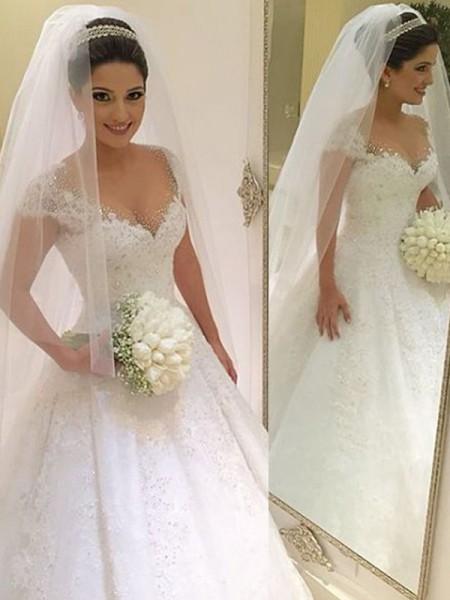 Stora Ärmlös V-ringning Pärlbrodering Golvläng Tyll Bröllopsklänningar