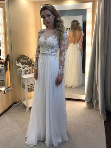 A-linjeformat Bateu Golvläng Långa ärmar Spetsar Chiffong Bröllopsklänningar