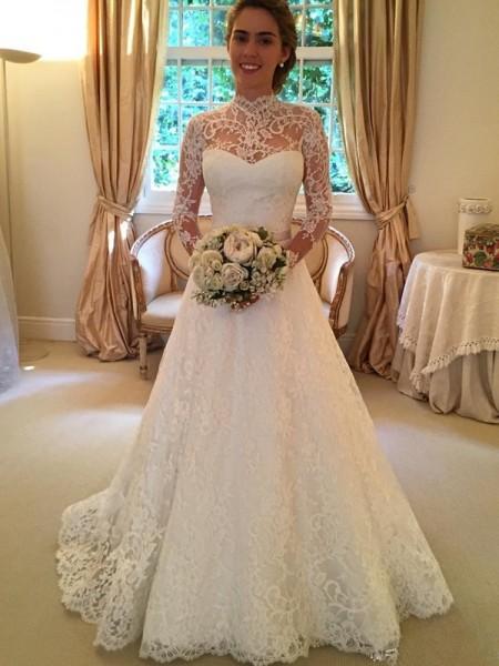 Stora Hög hals Långa ärmar Spetsar Court släp Bröllopsklänningar