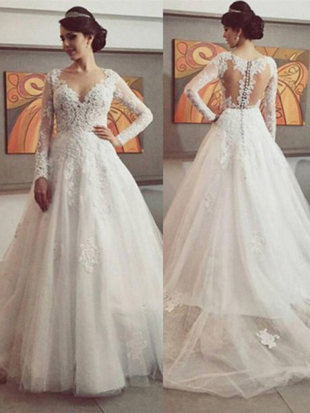 Stora V-ringning Långa ärmar Spetsar Court släp Tyll Bröllopsklänningar