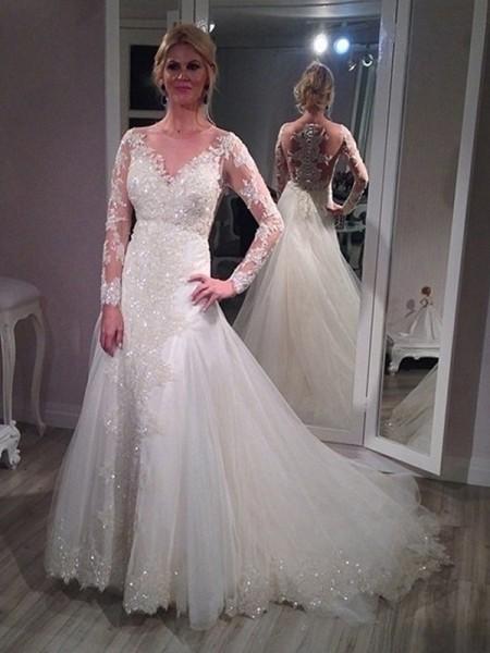 A-linjeformat V-ringning Sweep släp Långa ärmar Paljetterad Tyll Bröllopsklänningar