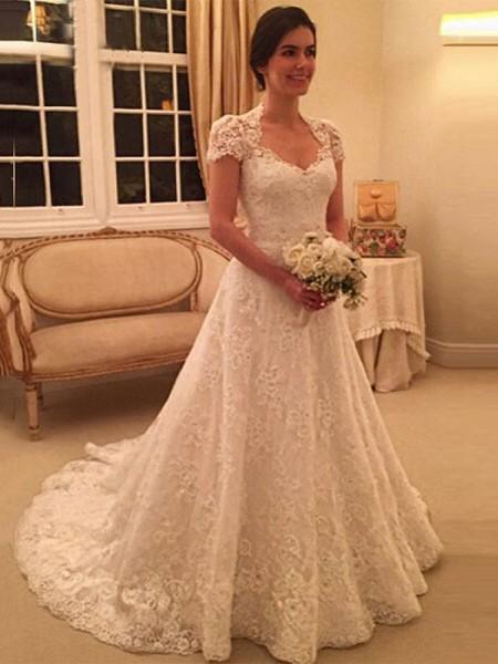 A-linjeformat Hjärtformad Court släp Korta ärmar Spetsar Bröllopsklänningar