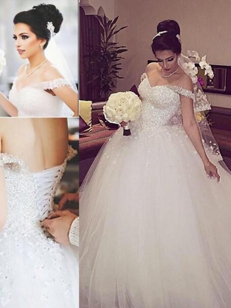 Stora Off-shoulder ringning Ärmlös Spetsar Court släp Tyll Bröllopsklänningar