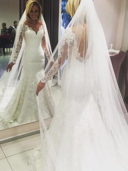 Slida/Kolumn V-ringning Långa ärmar Sweep släp Spetsar Bröllopsklänningar