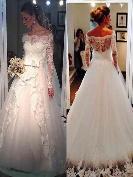 Stora Tyll Långa ärmar Off-shoulder ringning Sweep släp Bröllopsklänningar